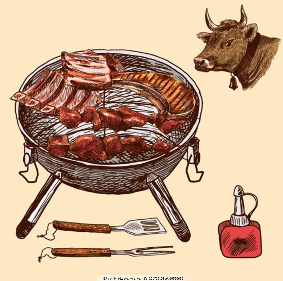 手绘烧烤牛肉插图