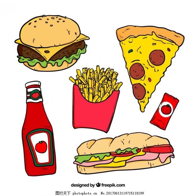 手绘彩色快餐 食物方面 比萨 厨师 烹饪 汉堡 吃 快拉 炸薯条