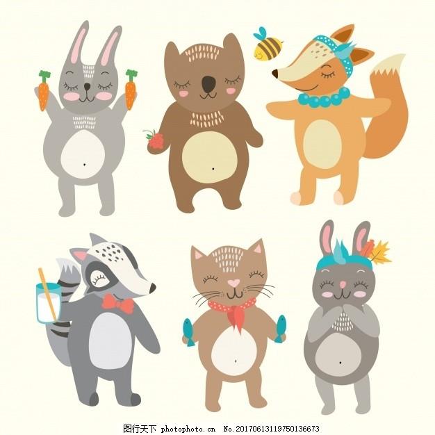 彩色的动物集合 动物 猫 可爱 颜色 熊 蜜蜂 兔子 狐狸 色彩 可爱的