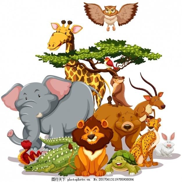 树 鸟 动物 狮子 熊 猫头鹰 大象 兔子 蛇 长颈鹿 颜色 乌龟 鳄鱼