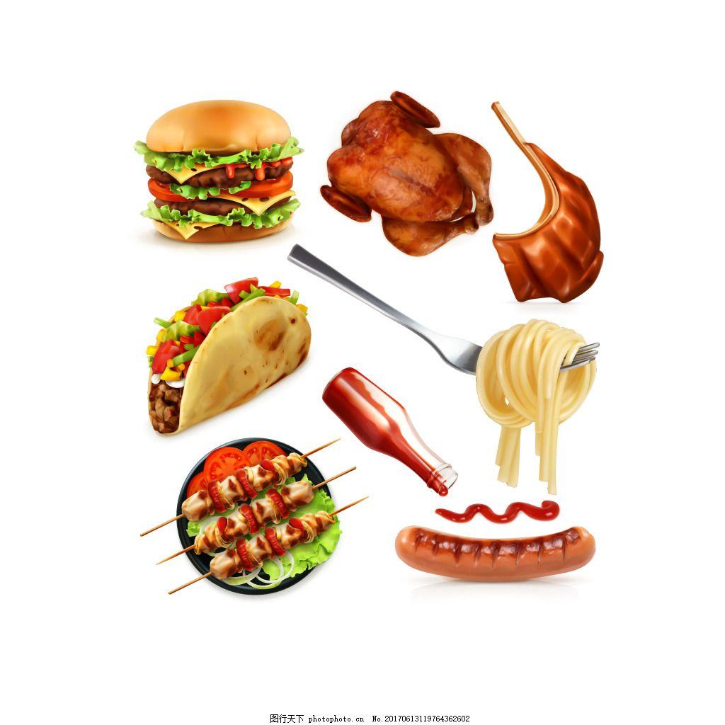 手绘美味食物元素 汉堡 烤串 意大利面 香肠 矢量