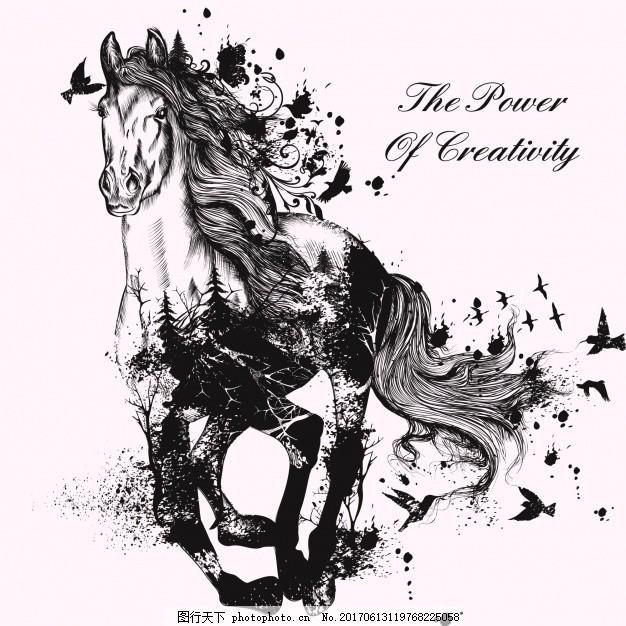手绘马背景