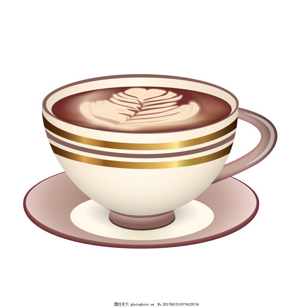 手绘心形咖啡元素 大气 简约 休闲 下午茶 卡布奇诺 精致 茶杯