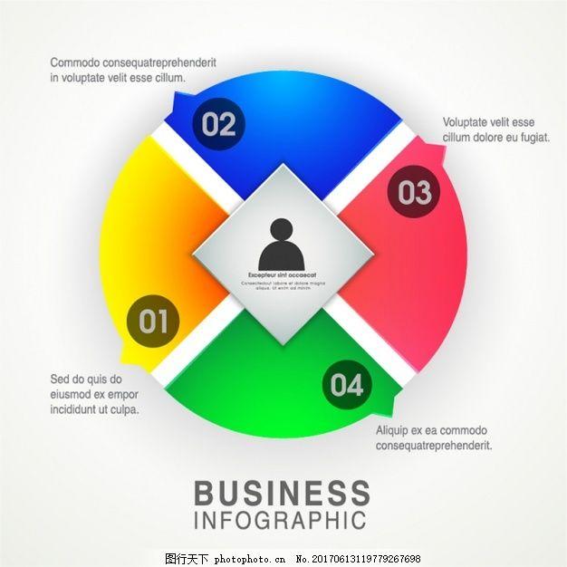四彩色圆形图表选项 业务 模板 营销 色彩 图形 工艺图表模板