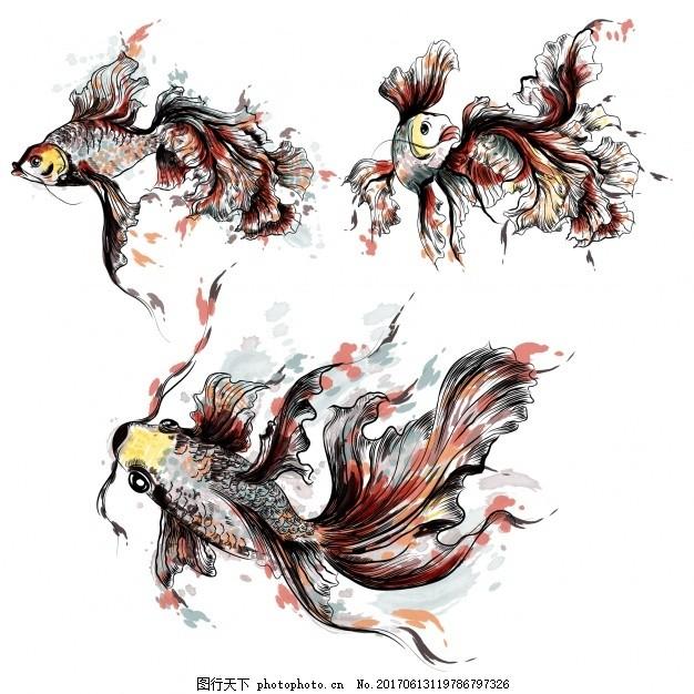 一套可爱的手绘水彩鱼