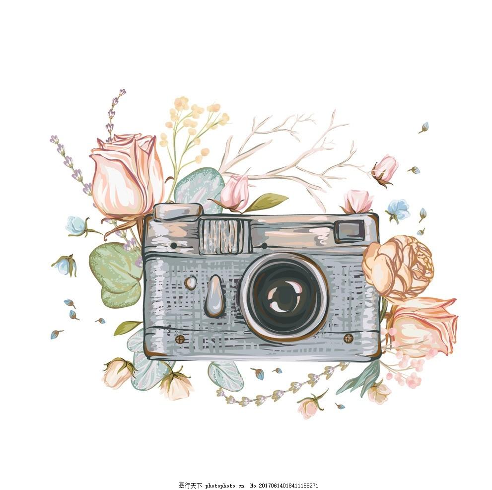 素描照相机 油画 花朵 油画照相机 动漫动画
