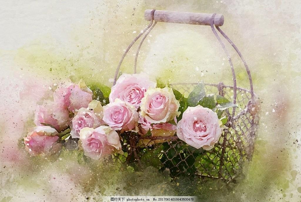 玫瑰花篮 粉色玫瑰 绿草 绿色 手绘 背景 复古 划痕 风景 动漫动画