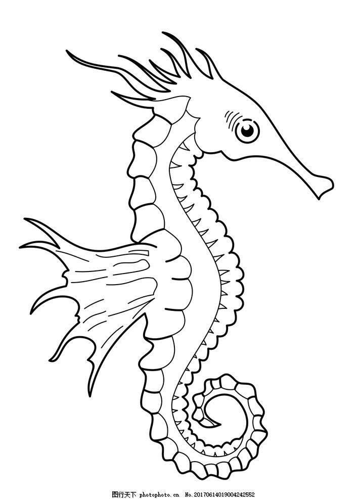 动物 海马 生物 平面 线条 设计 文化艺术 绘画书法 300dpi jpg