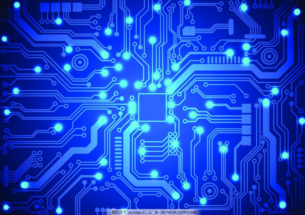 科技电路板ppt背景矢量素材 蓝色 发光 卡通 背景素材