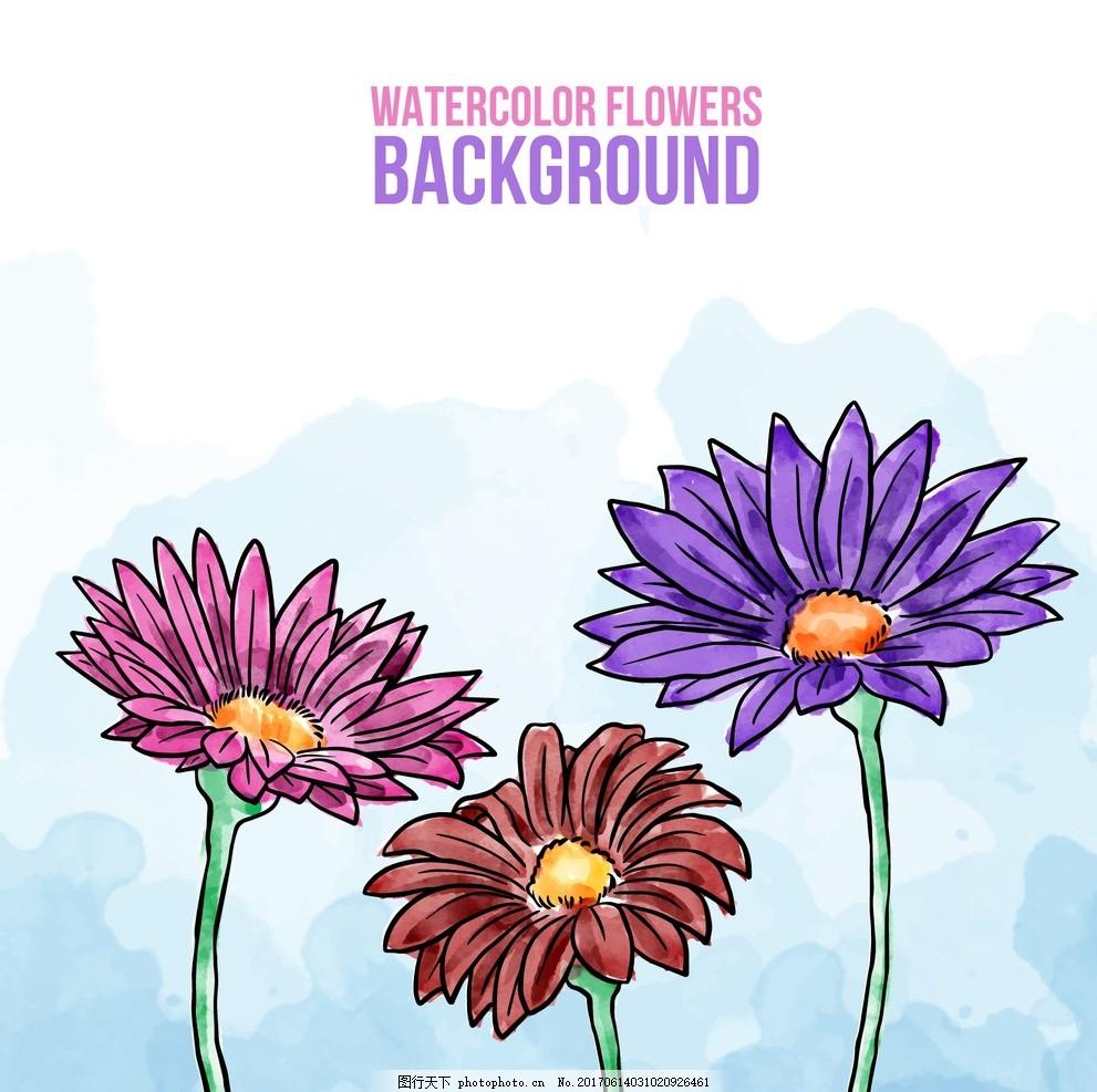 水彩花卉背景 背景 花卉 水彩 鲜花 自然 可爱 植物 春天 性质 美丽