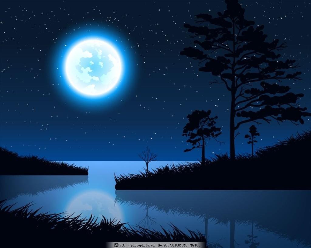 蓝色月光侦探礹.+y��_阳光 初生的太阳 湖泊 湖水 湖面 树木剪影 蓝色 夜空 夜晚 月光 夜色