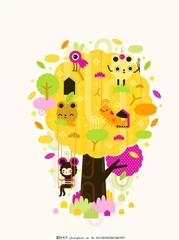 树叶叶子手绘卡通漫画 插画 卡通素材 装修 墙壁画 漫画人物 装饰画