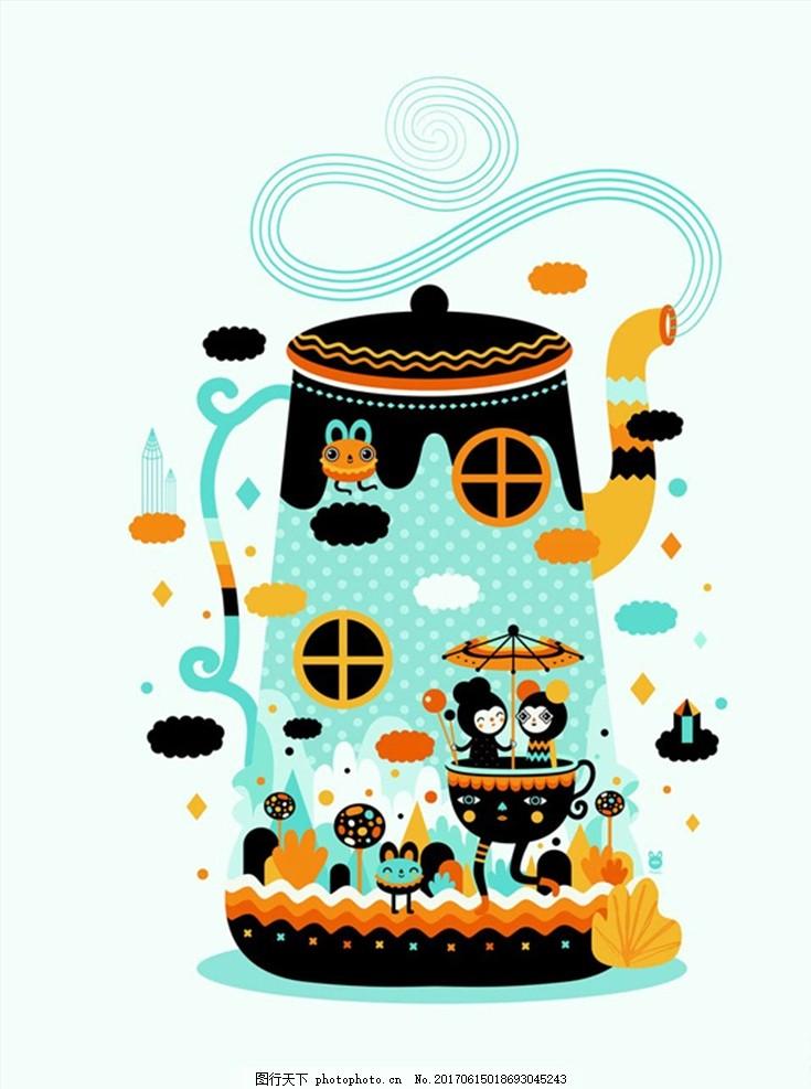 手绘卡通水壶