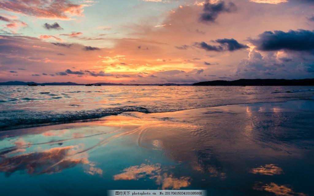 黄昏沙滩倒影 倒影 黄昏 大海 日落 海湾 沙滩 海岸 海岛 海岸线 夏天
