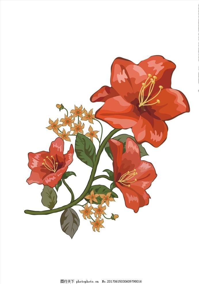 植物花卉矢量图下载 小花 手绘花朵 花朵花卉 植物花朵 绿叶 勾花
