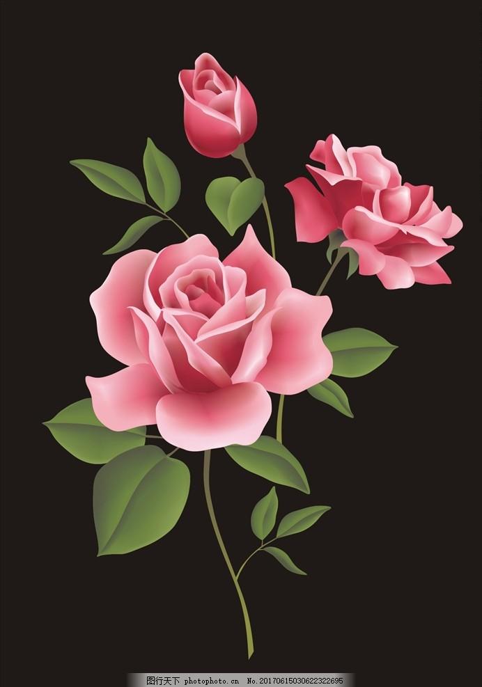 玫瑰花矢量图下载 花 小花 手绘花朵 植物 花朵花卉 植物花朵 绿叶 勾