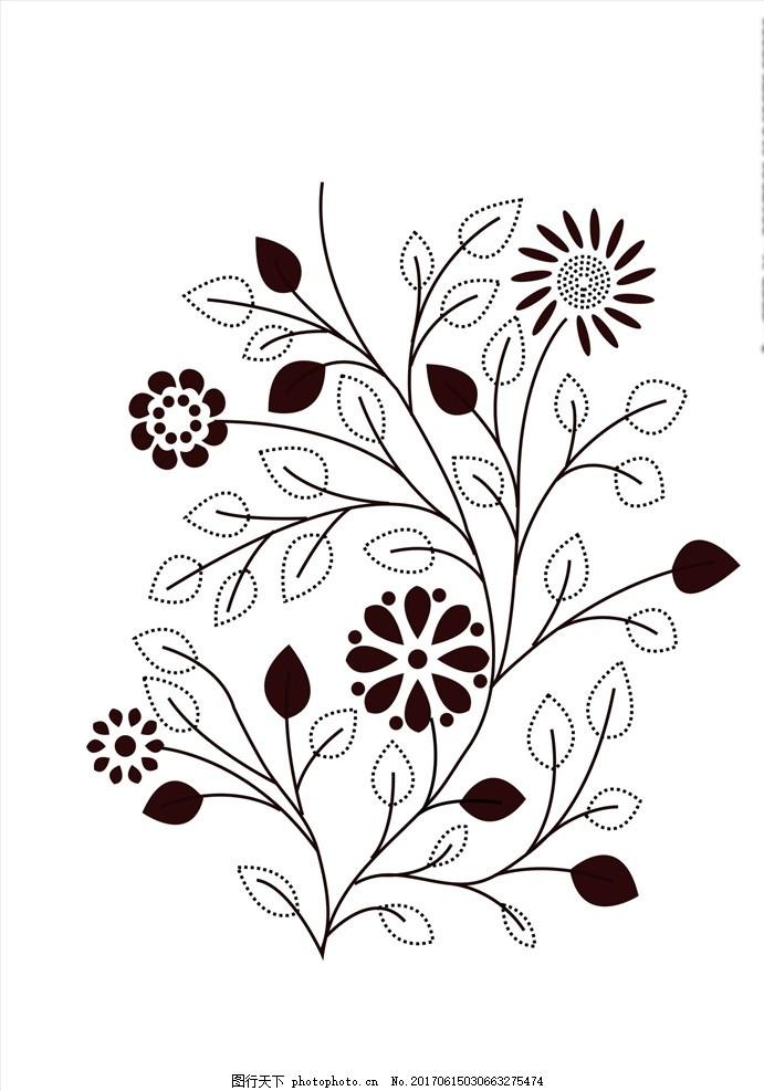 黑白线描花朵花卉矢量图下载