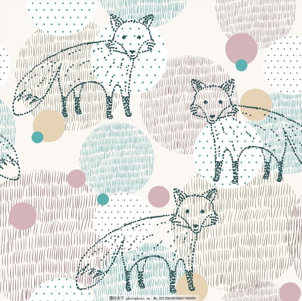 手绘线描狐狸矢量图下载