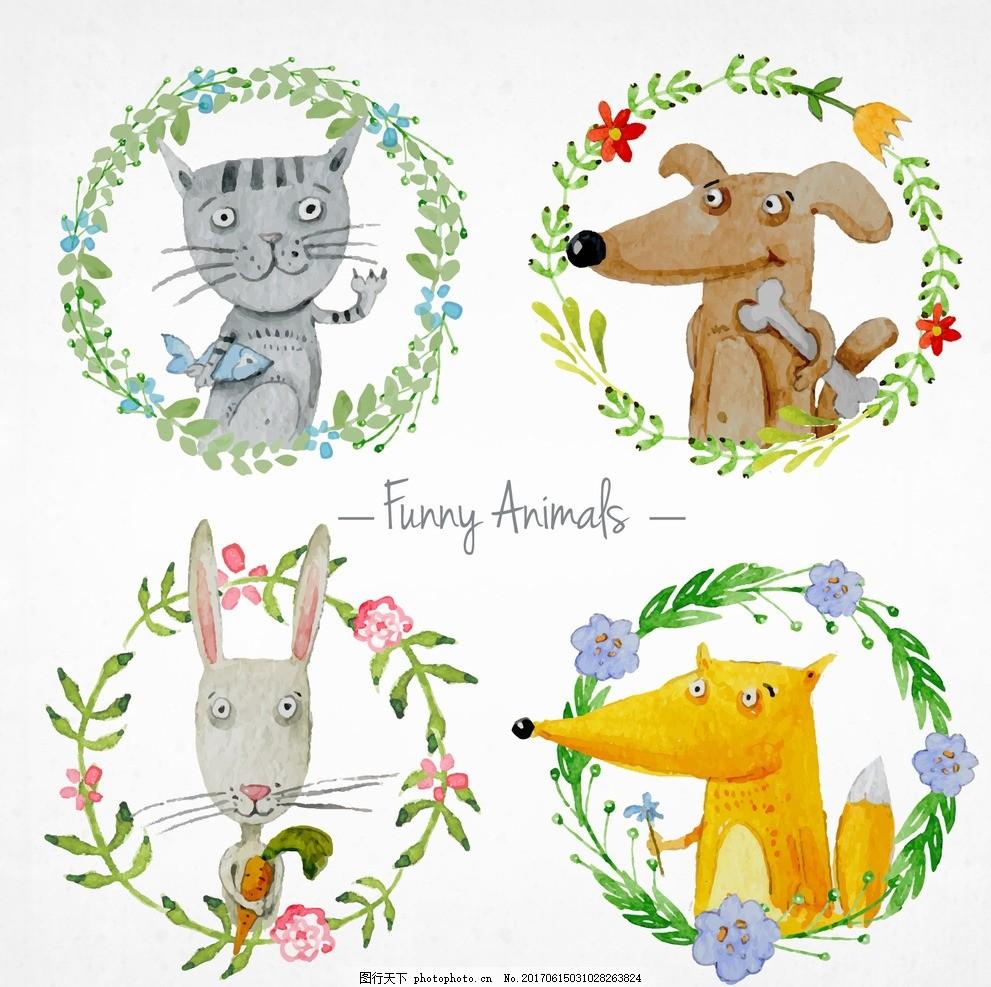 手绘花圈和动物 花卉 水彩 鲜花 自然 动物 饰品 可爱 叶子 花圈 装饰