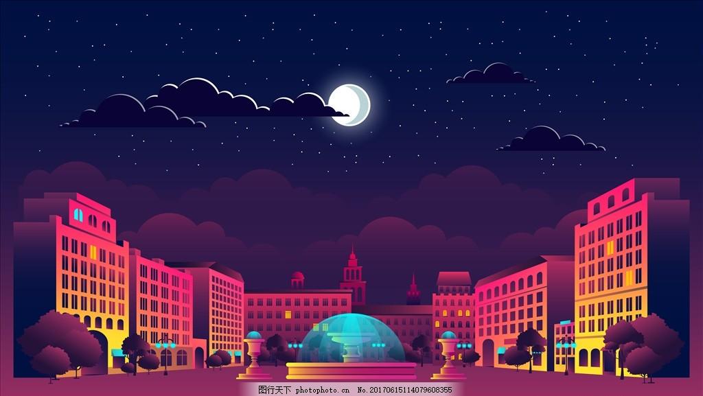 学校夜景 礼堂 教堂 素描 欧洲建筑 城市风景 手绘 时尚 潮流