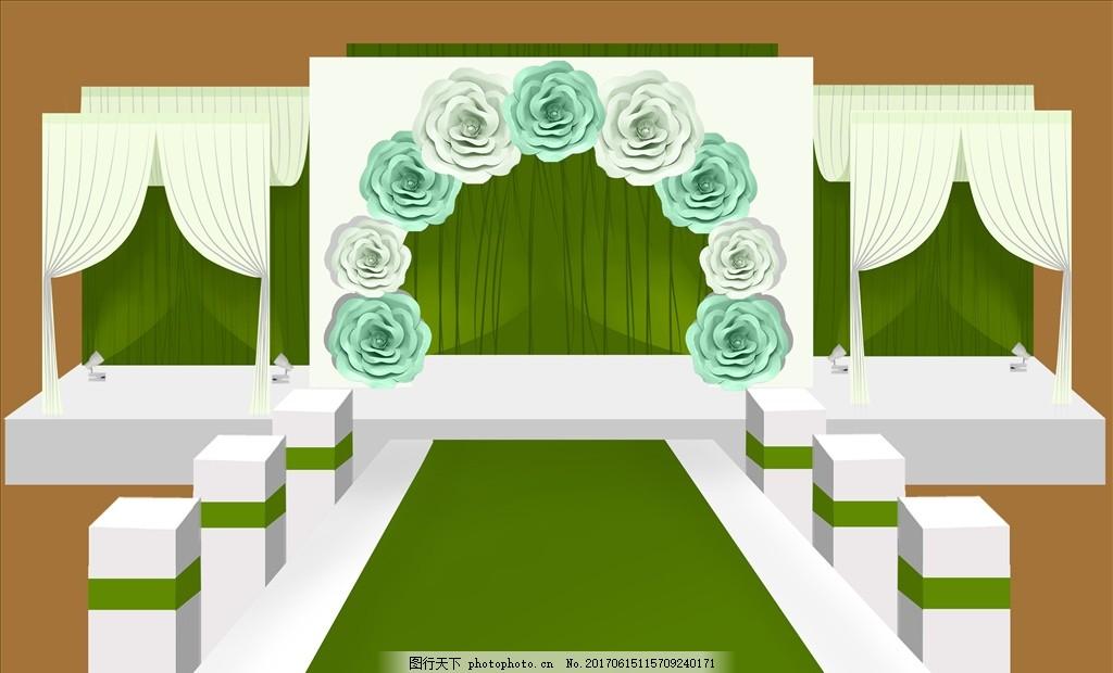 绿色婚礼舞台手绘效果图