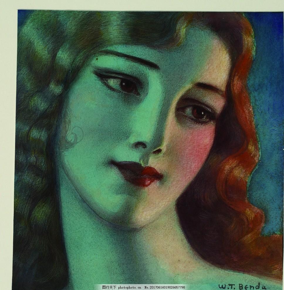 手绘外国美女头像装饰画