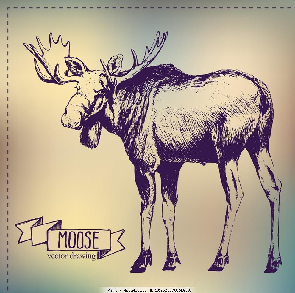 手绘麋鹿 手绘 麋鹿 线条 铅笔画 服装印花 t恤花型 靠垫印花 数码
