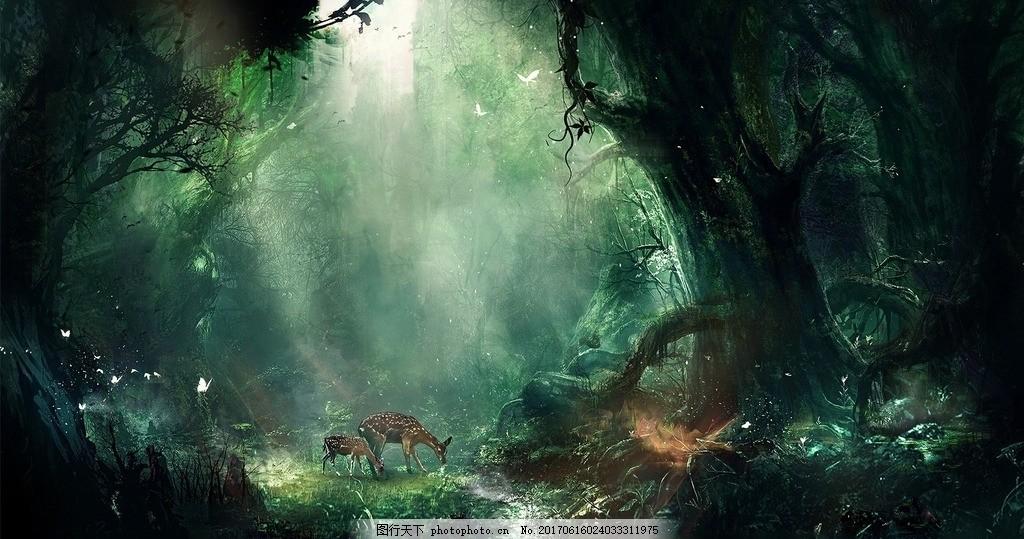 森林唯美图 梅花鹿 自然美景 一束米阳光 阳光照射 蝴蝶 树木