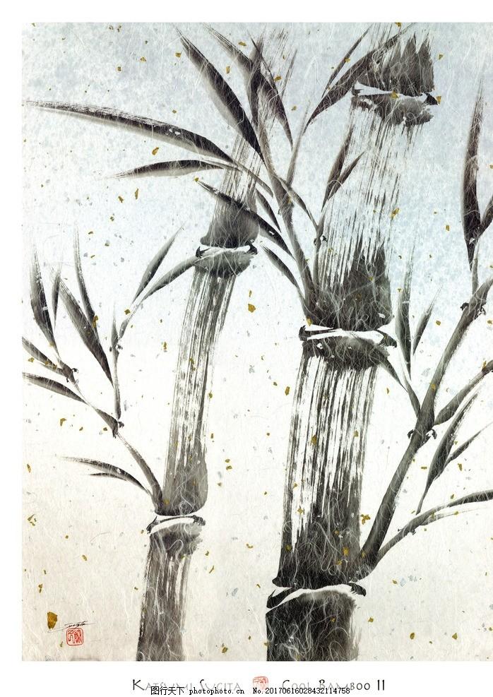复古水墨画 竹 写意水墨 水墨装饰画 绘画花型 中国风 文化艺术