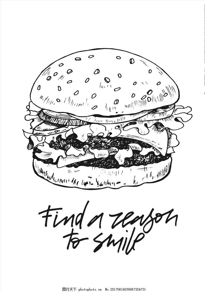 手绘线描汉堡包矢量图下载