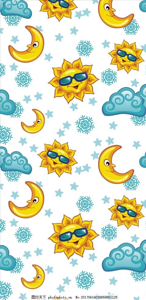 手绘印花图案 手绘图案 太阳 墨镜 云朵 描线 月亮 星星 雪花