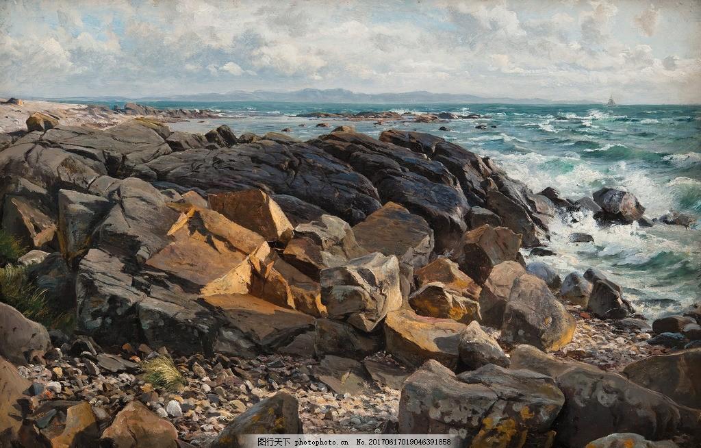 海边油画 油画风景 油画山水 风景油画 山水风景油画 欧式风景油画