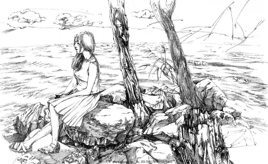 素描画人物女孩 素描人物 素描女孩 铅笔 线条画 画画 绘画 手绘