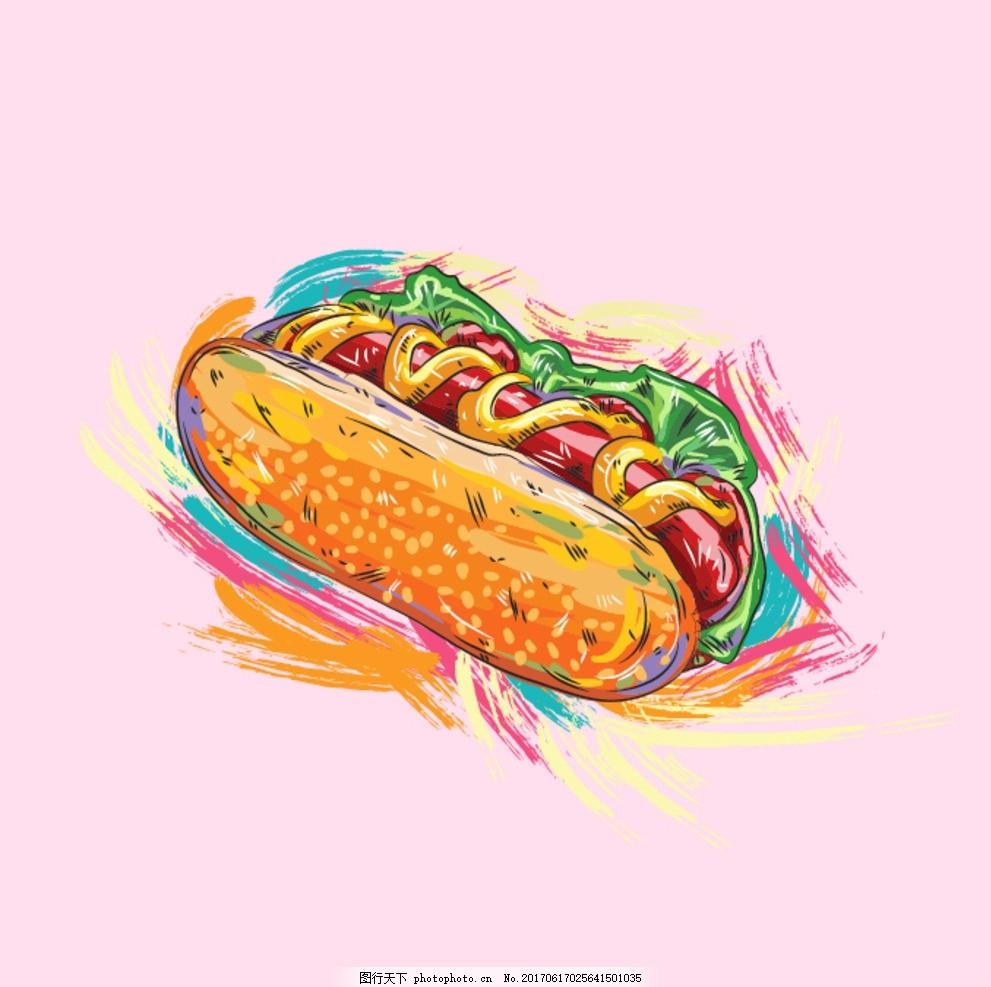 餐饮美食 eps 卡通矢量图 矢量图 手绘 手绘素材 素材 背景 可爱 汉堡
