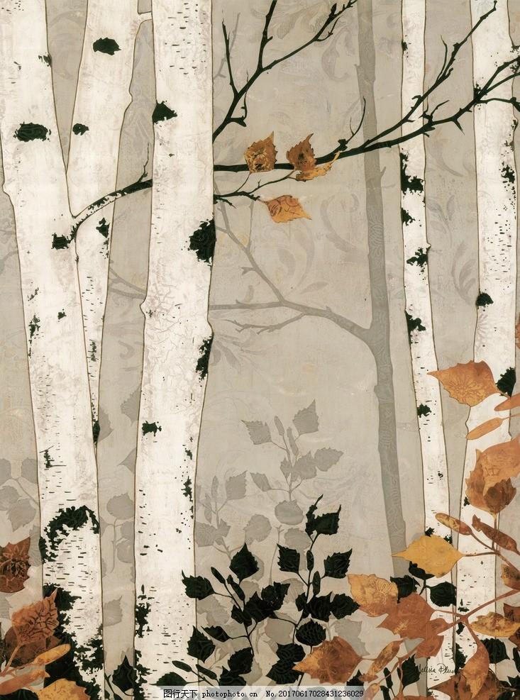 白桦树 装饰画 白桦 水彩 工笔 装饰画 白桦树 黄叶 枯枝 白桦林两联