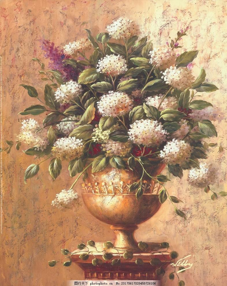 欧洲古典静物花卉 装饰绘画 花卉 油画 装饰画 绣球花 团花 静物 欧美