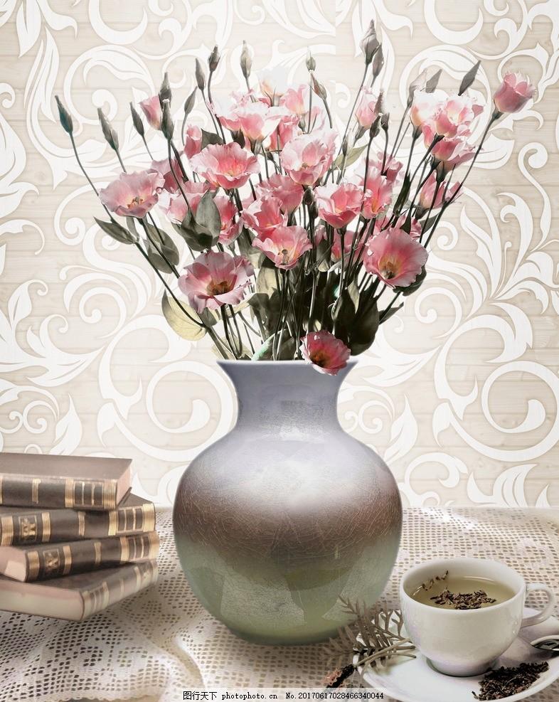花卉 装饰画 照片绘画结合 咖啡 书籍 枝条花 欧式底纹 花瓶插花 蓝色