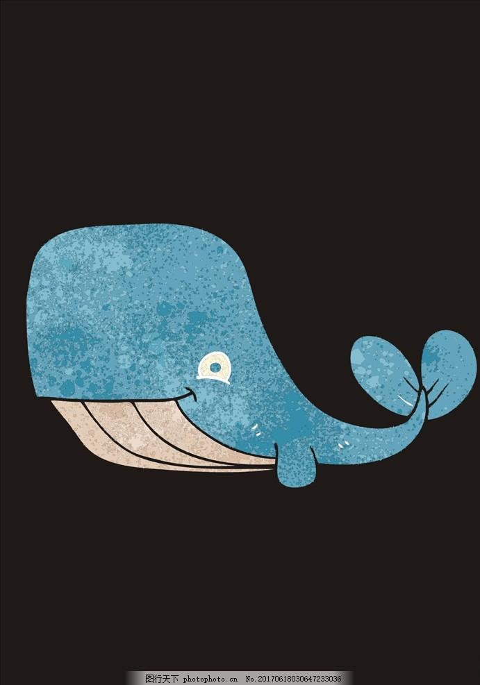 t恤手绘图案 手绘图案 面料印花 印花图案 蓝鲸 简约 t恤印花图案
