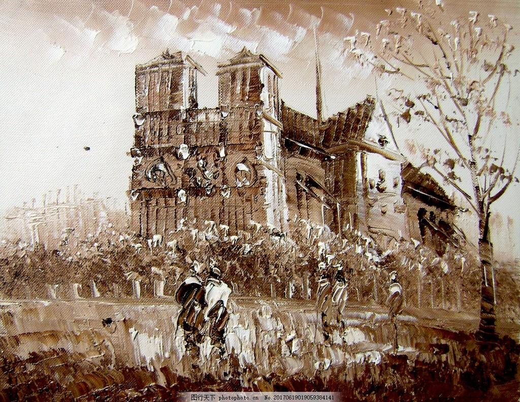 唯美风景油画 风景画 油画艺术 西方油画 油画作品 小镇 礼堂 黑白