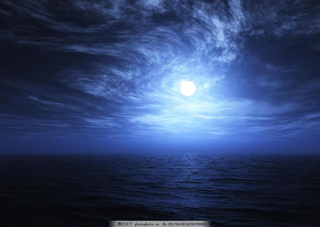 蓝天白云图片背景图 蓝天 白云 夜晚月光 海边 倒影 摄影 自然景观