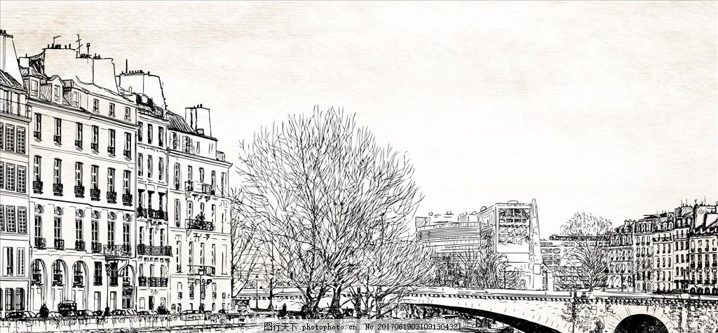 手绘 素描 线描 黑白 黑色 城市 建筑 建筑群 建筑风景 街景 水彩泼墨