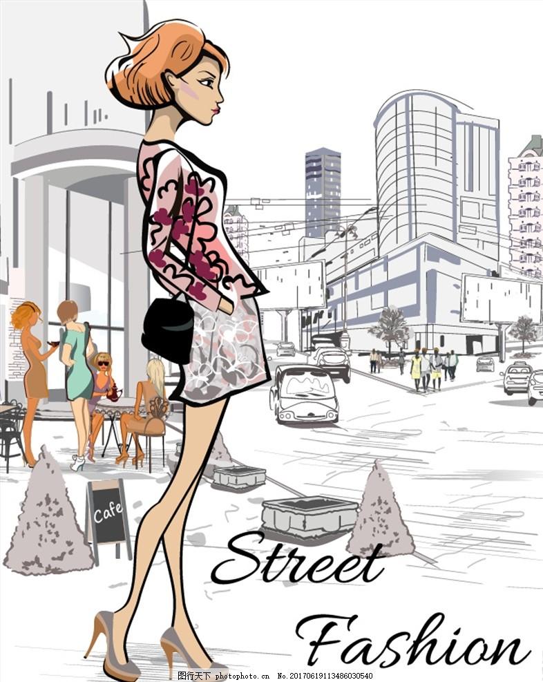 手绘城市街头短发美女矢量素材