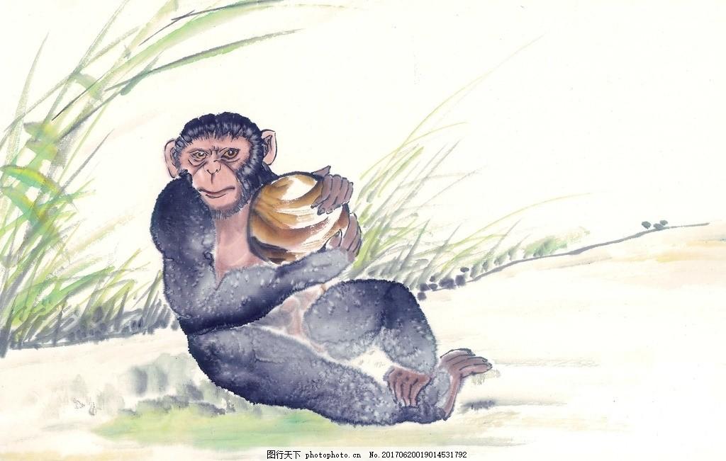 水墨画猴子 水墨动物 鸟语花香 水墨风格 中国风 麻雀 高清绘画