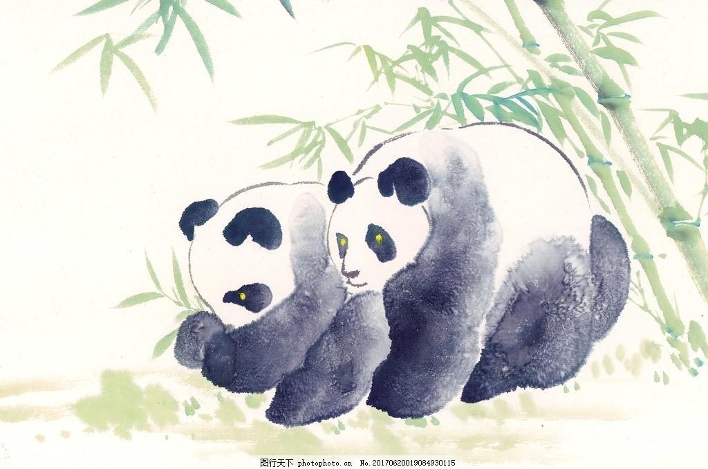 大熊猫水墨画范画分享展示