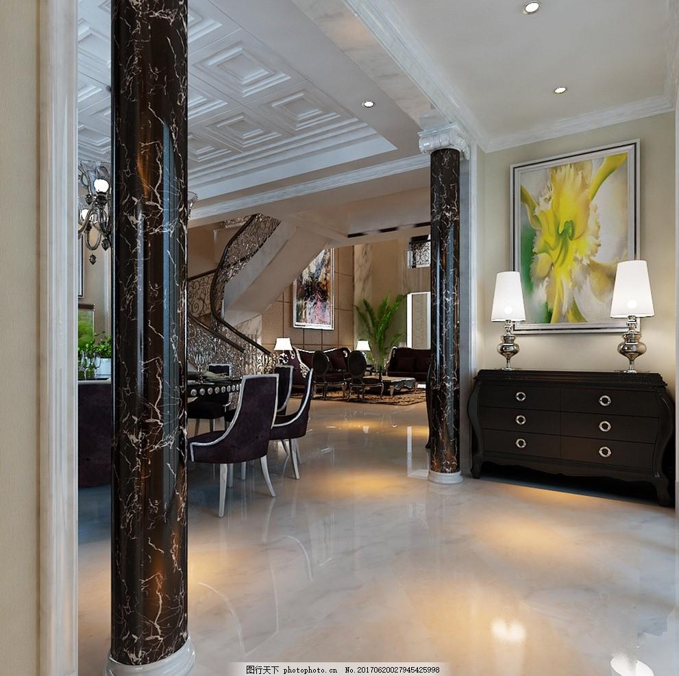 客餐厅效果图,装饰 装修 家装 欧式风格 奢华 别墅-图