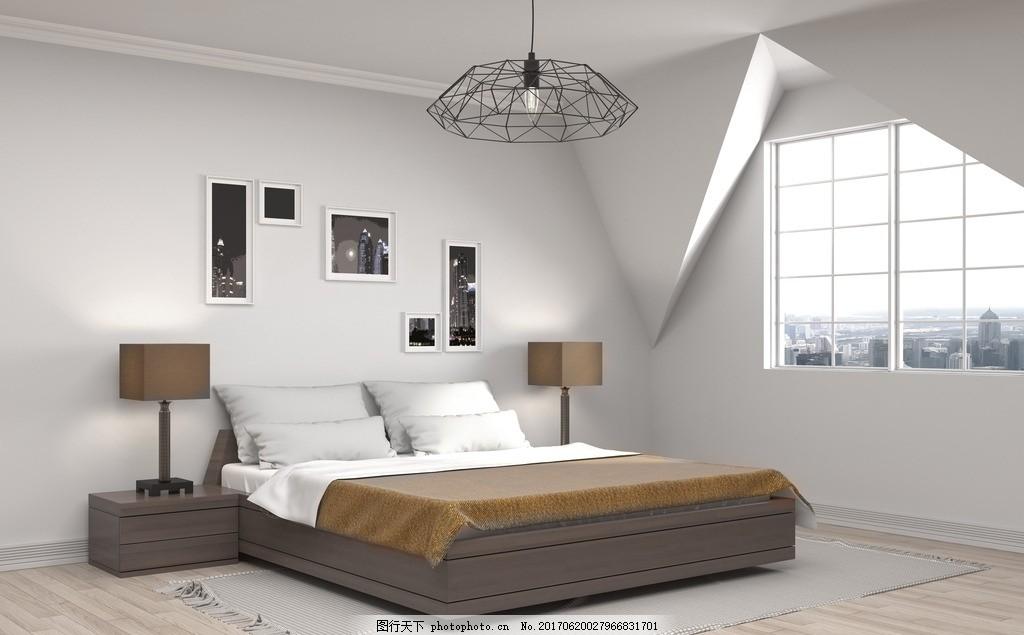 卧室效果图 室内设计 装饰 装修 家装      床 台灯 简约 现代 设计