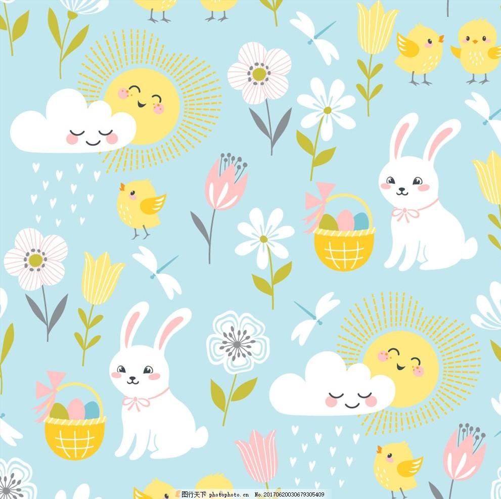 竹篮 植物花朵花卉 手绘花朵花卉 卡通兔子 小鸡 可爱卡通小鸡 大白兔