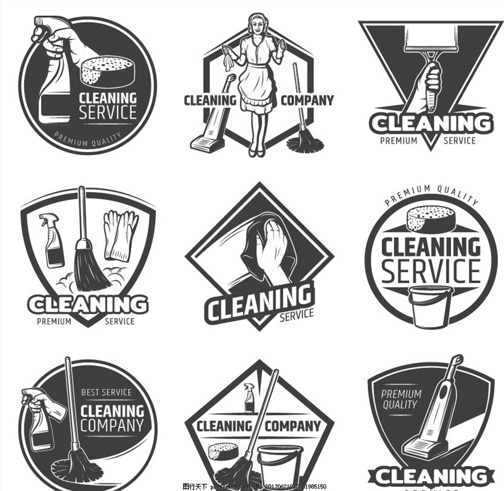 多款欧式复古黑白清洁公司图标