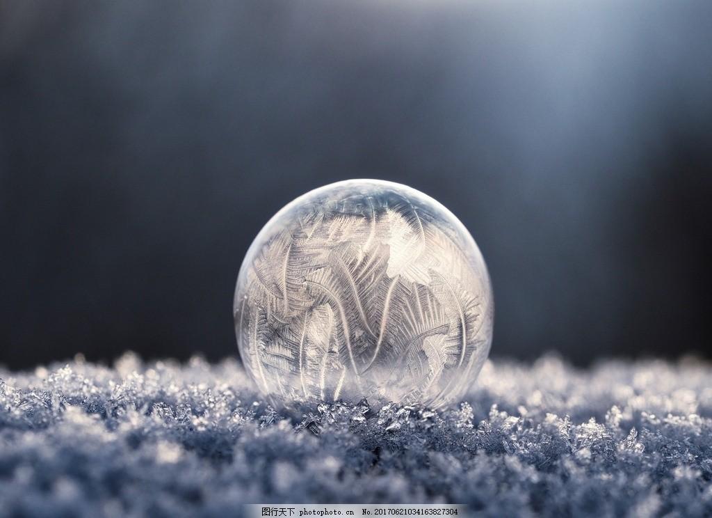 微距 冰晶 冰花 冰晶球 冰花球 雪花 雪花球 摄影 自然景观 自然风景