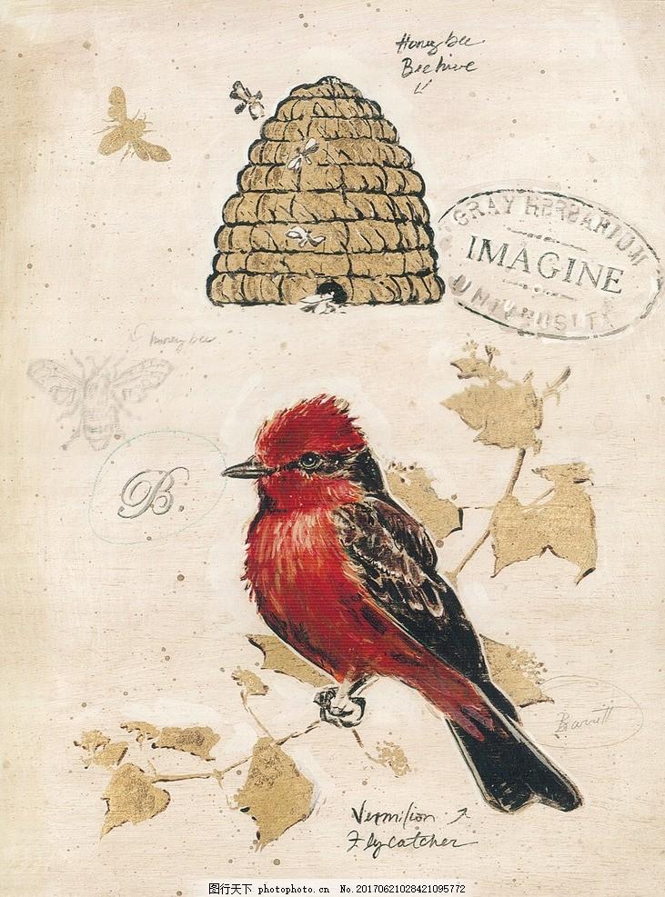 欧式复古 鸟雀昆虫 手绘装饰 欧美 蜂窝 蜜蜂 邮戳 花式英文